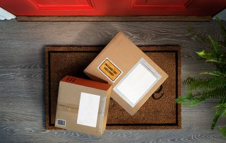 Boxes delivered outside the door