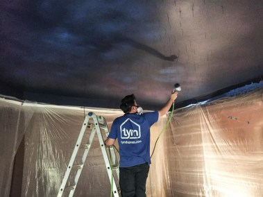 Painting the cosmos mural for the Fiber Optic Star Ceiling, Salt Lake City, Utah