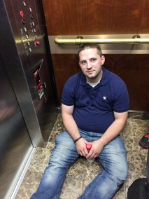 Matt Montgomery, stuck in the hotel's elevator, CEDIA 2015 | TYM, Salt Lake City, Utah