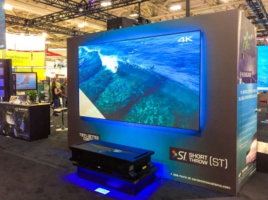 Sony VPL-GTZ1 4K Ultra-Short Throw Laser Light Source Projector at Screen Innovation booth, CEDIA 2015 | TYM, Salt Lake City, Utah