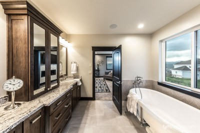 Master bathroom with home audio, lighting control, climate control, Savant professional home automation, 2015 Utah Valley Parade of Homes