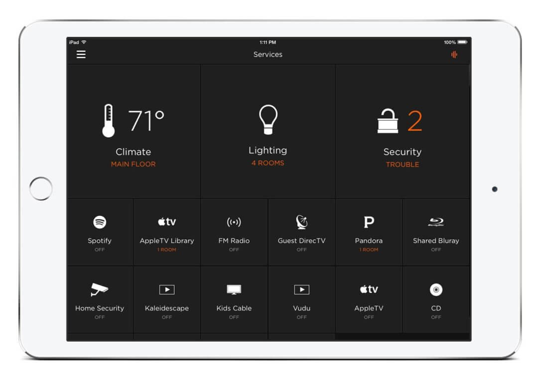 Home Gym Savant Home Automation App for iPad