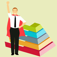 A colourful graphic of a business man in a hero's cape next to a podium of five layers