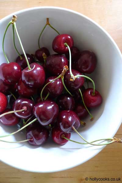 Holly-cooks-cherry-and-pecan-clafoutis-recipe-cherries-in-bowl