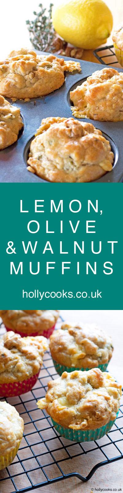 Lemon, olive and walnut muffins