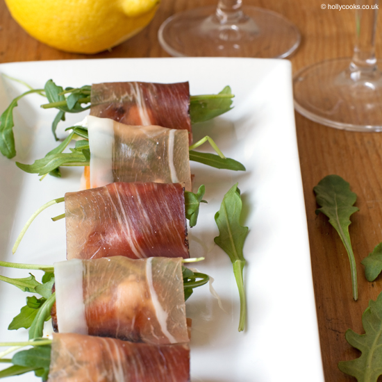 Prosciutto, goats cheese and rocket canapés