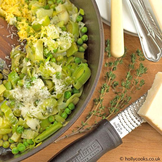 leeks, peas and parmesan