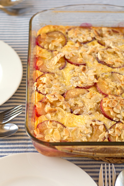 Holly-cooks-Plum and almond baked custard-complete-in-dish-portrait
