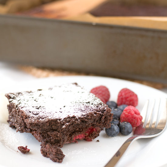 raspberry and walnut chocolate brownies
