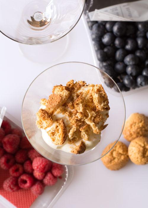Summer fruits with Amaretti and Greek yoghurt
