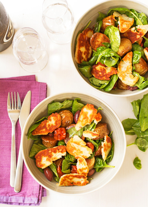 Hot halloumi and roast potato salad