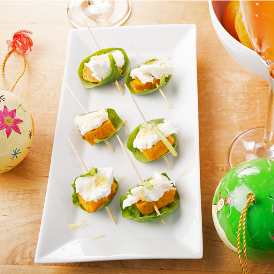 Sweet potato and goats cheese canapés