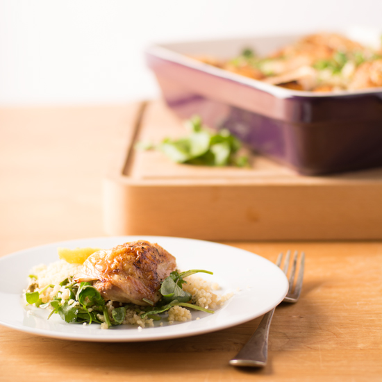 Holly-Cooks-roast-chicken-with-watercress-and-coriander-on-plate-with-full-oven-dish-in-the-backgroundFG