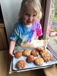 """Izzy William's Raspberry and Pecan Scones, which she ,ade with her Mum Nancy. """"Scones taste amazing (as did cake mix)."""""""