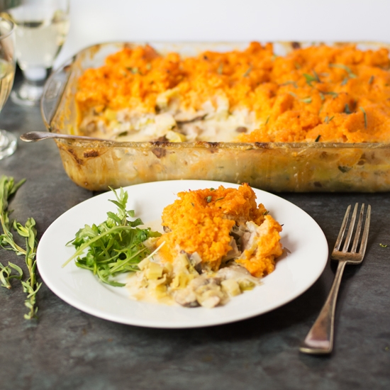 chicken and leek pie with sweet potato topping