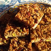 "Juliet Brown's Pistachio, almond and cranberry flapjack. ""We have really enjoyed your flapjack and cassoulet recipes this weekend, thanks for posting them"""