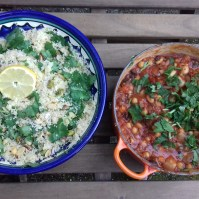 "Juliet Brown's Spicy vegetarian cassoulet with pistachio and coconut couscous. ""We have really enjoyed your flapjack and cassoulet recipes this weekend, thanks for posting them"""