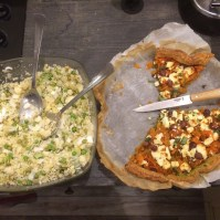 Roasted carrot and hazelnut tart & Couscous, ginger and spring onion salad