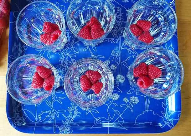 Dark rich chocolate mousse with raspberries