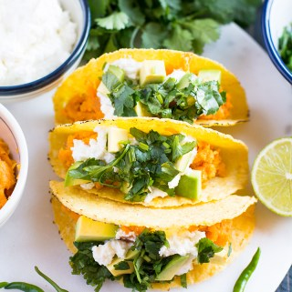 Sweet potato, coriander and lime tacos