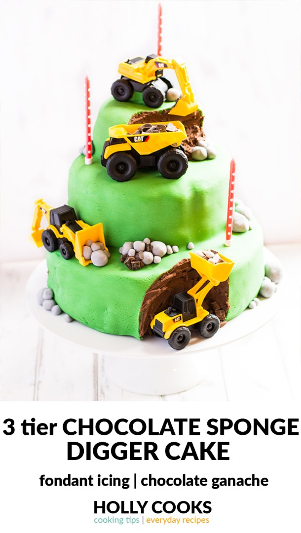 A 3 tier chocolate sponge digger birthday cake covered in chocolate ganache and fondant icing. Perfect for that digger enthusiast in your life. Birthday cake | kids birthday cake | digger cake | boys birthday cake | chocolate birthday cake | 3 year old birthday cake |