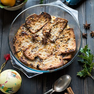 Christmas Stollen Bread and Butter Pudding