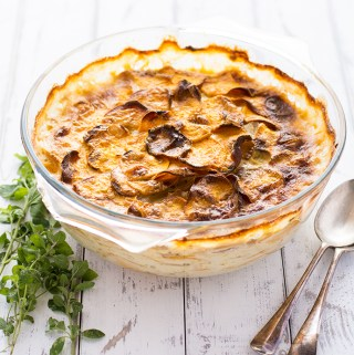 Sweet potato and potato dauphinois – just 20 mins prep