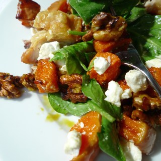 Chicken, butternut squash and walnut salad recipe