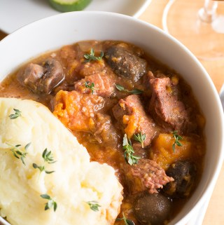 Slow cooker beef stew with sweet potato and thyme