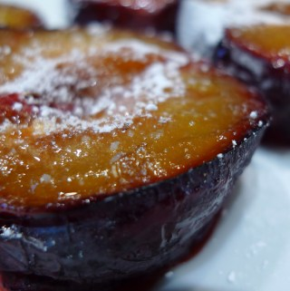Plum and almond baked custard