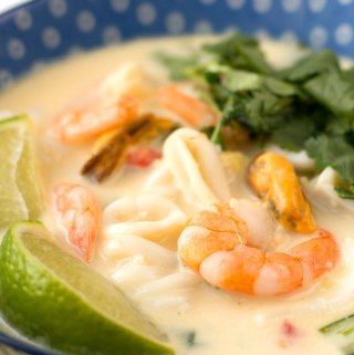 Seafood and coconut soupy noodles