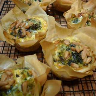 Spinach, feta and pine nut tart and tartlets