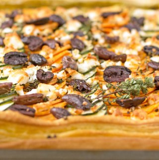 Sweet potato, courgette and feta tart