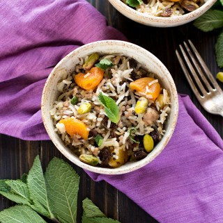 Lamb, apricot and mint pilaf