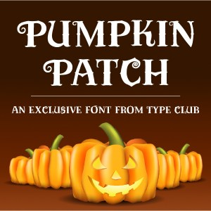 Pumpkin Patch typeface specimen with bright orange pumpkins