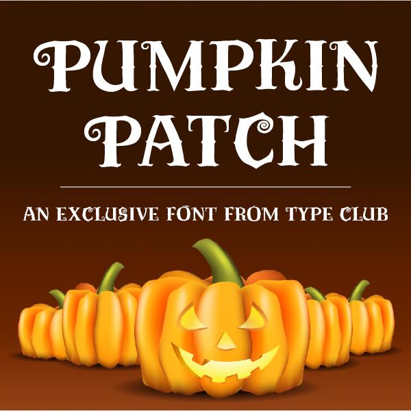 Pumpkin Patch typeface specimen with bright orange pumpkins