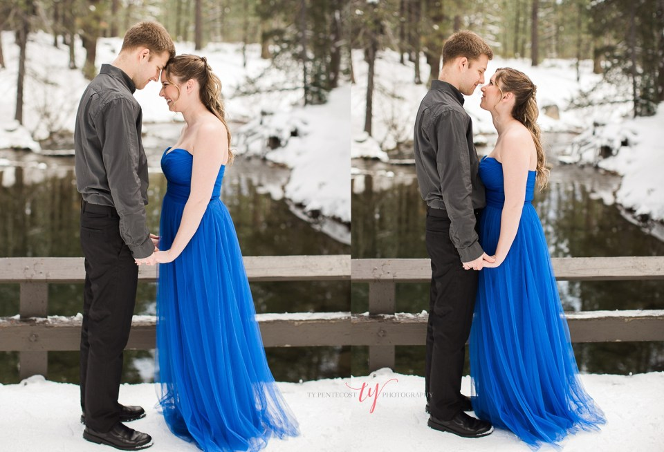 blue ball gown engagement photos