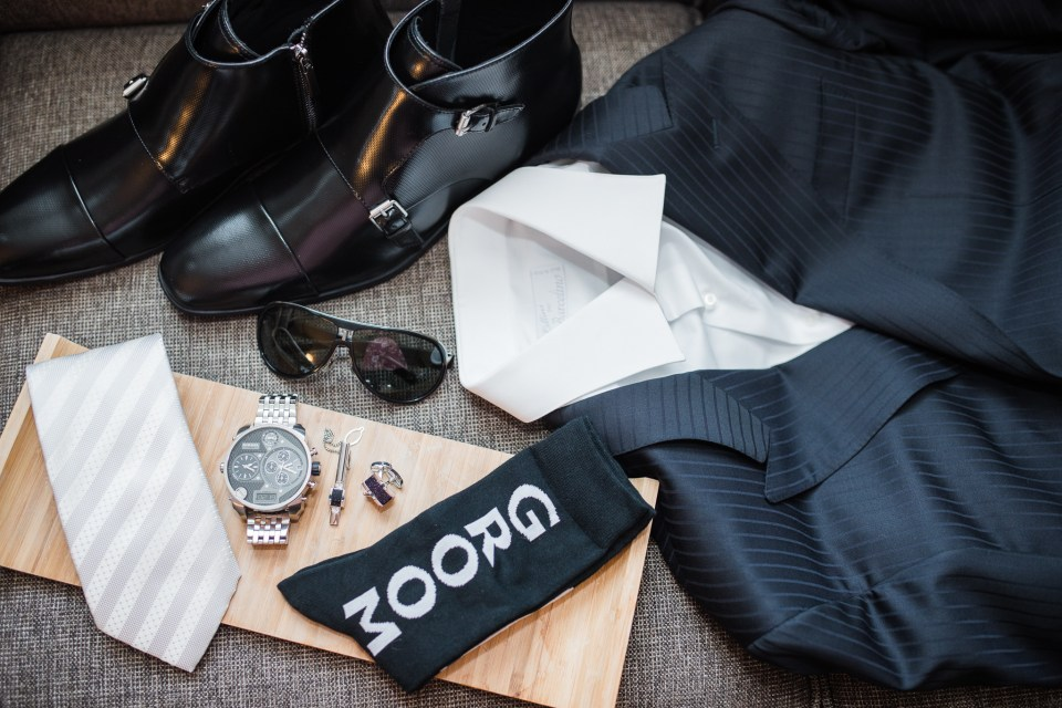 groom's accessories for a wedding at The Westin San Jose