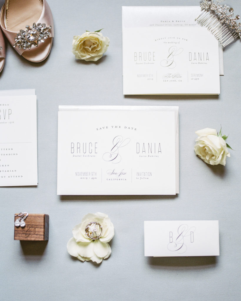 invitation suite for a wedding at The Westin San Jose