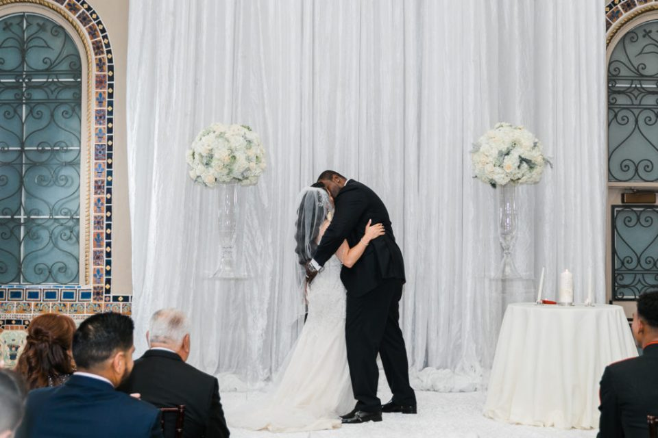 first kiss during a ceremony at a wedding at The Westin San Jose