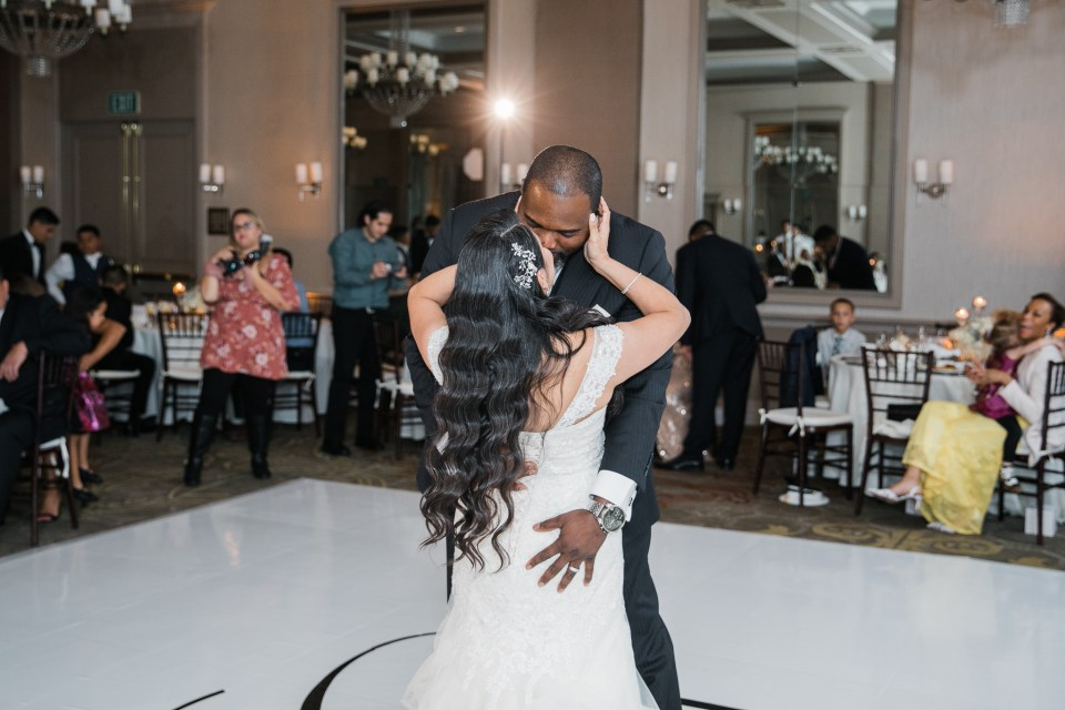 bride and groom share their first dance at their wedding at The Westin San Jose