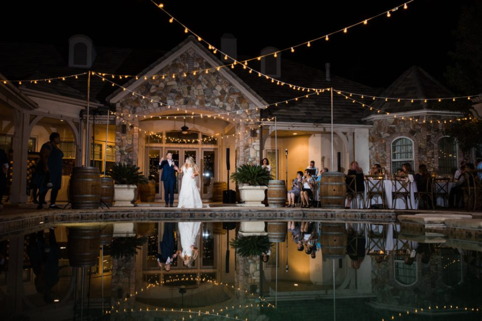photo from a nighttime intimate estate wedding reception