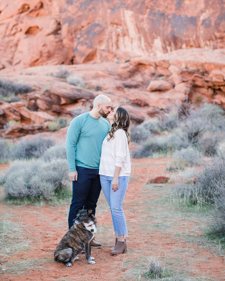 a couple and their dog during Valley of Fire engagement session