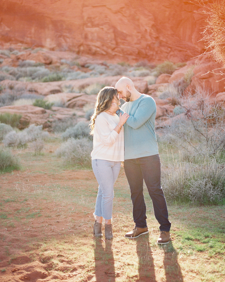 golden hour during Valley of Fire engagement session