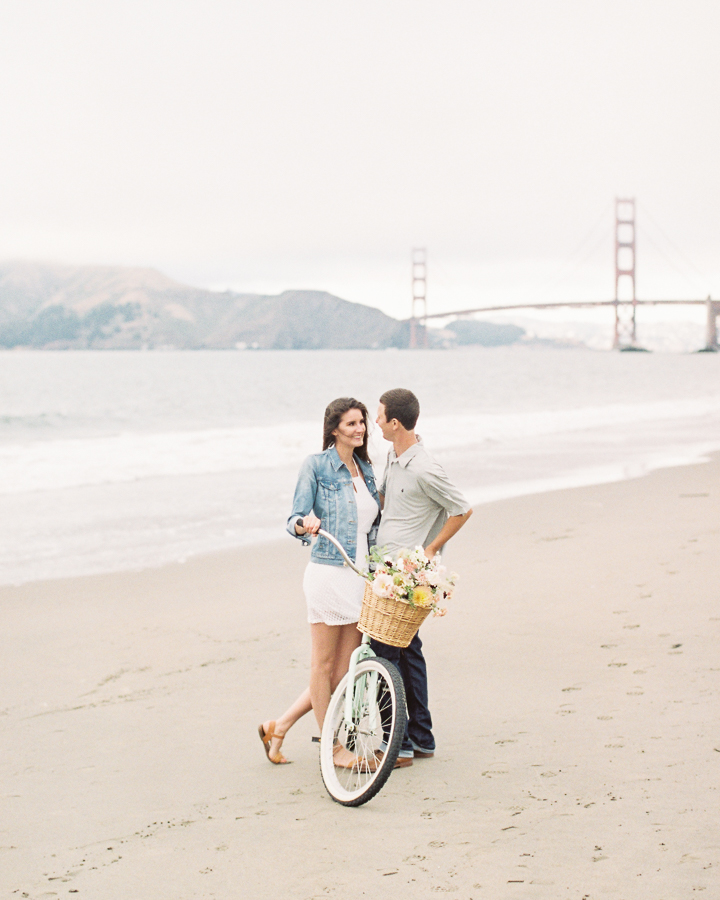 a pretty styled bicycle beach session
