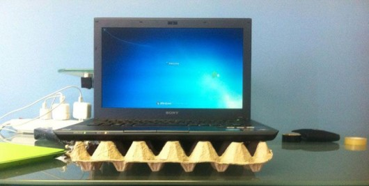 lap top on egg carton