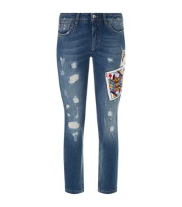 Sequin Card Distressed Skinny Jeans