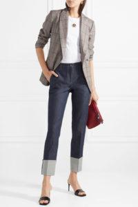 high contrast, deep-cuff blue jeans