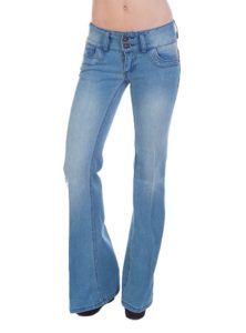 low rise flare jeans with a wide waistband