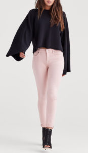 pink tint skinny jeans with darker top